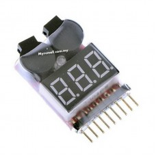 2 in 1 1S - 8S Lipo Battery Voltage Tester with Low Voltage Buzzer Alarm