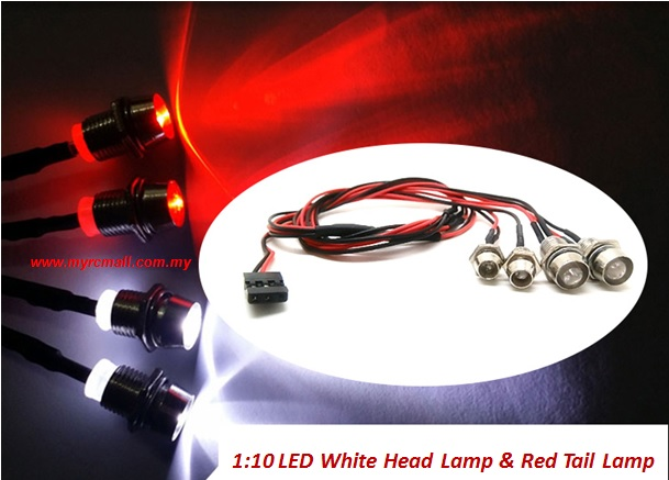 diy 1 10 size nitro ep rc car buggy truck bright led white headlights red tail lights kit set. Black Bedroom Furniture Sets. Home Design Ideas